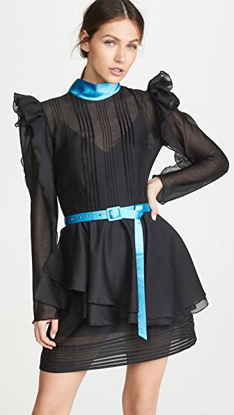 Anna October Puff Sleeve Tulle Ruffle Mini Dress In Black