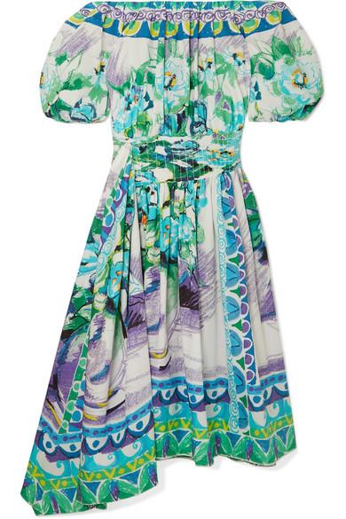 Prada Off-the-shoulder Shirred Printed Cotton-poplin Dress In Green