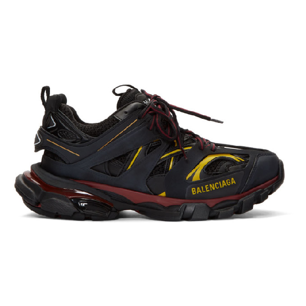Balenciaga Low-Top Sneakers Track  Fabric Mix Logo Black Bordeaux Yellow In 6162 Bor/Bk