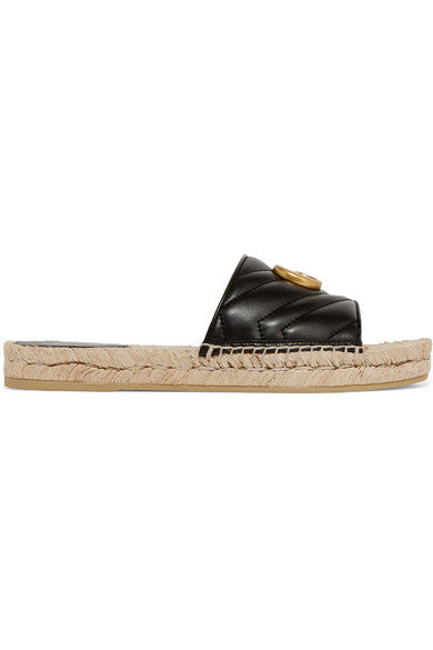 Gucci Pilar Gg Quilted-leather Espadrille Slides In Black