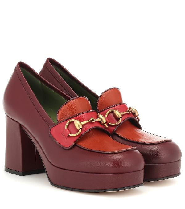 Gucci Horsebit Leather Loafer Pumps In 6480 Red