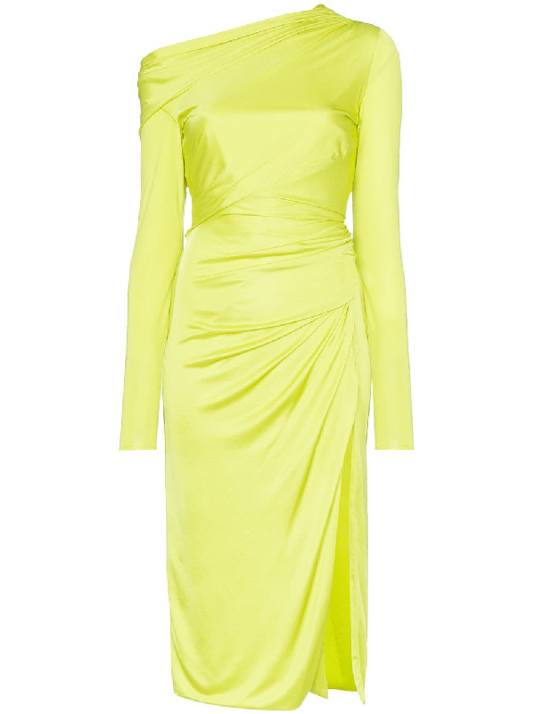 Versace Draped Fluo Midi Dress In A1529 Green