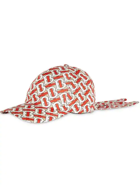Burberry Silk Twill Monogram Print Baseball Cap In Red