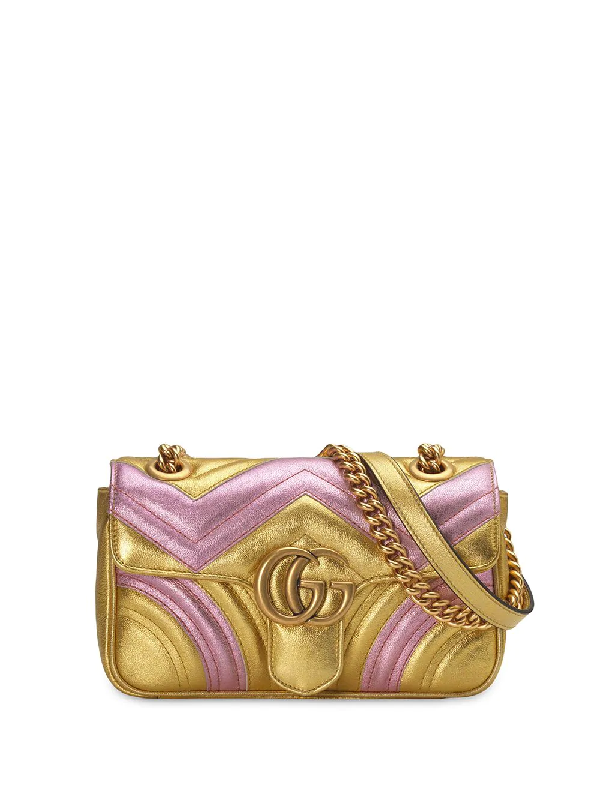 Gucci Gg Marmont Mini MatelassÉ Bag In Gold