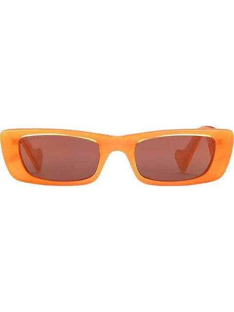 Gucci Rectangular Frame Sunglasses In Orange