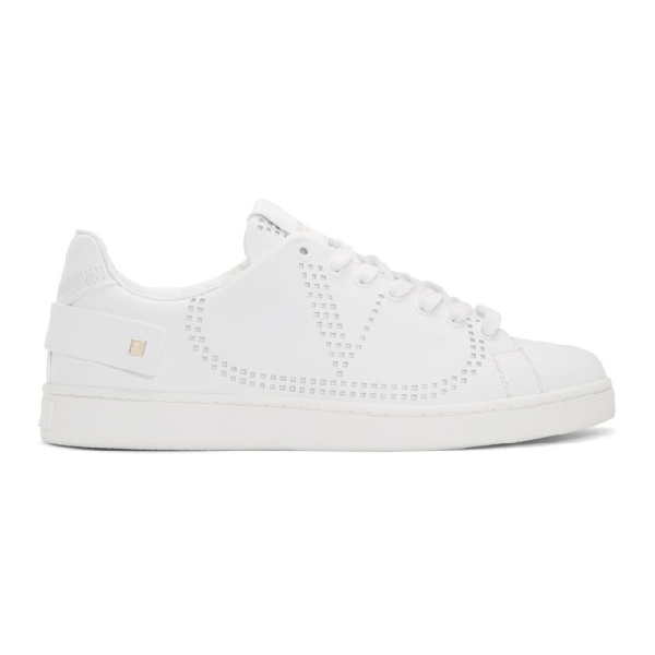 Valentino Backnet White Vlogo Holes Leather Sneaker In 0Bo White