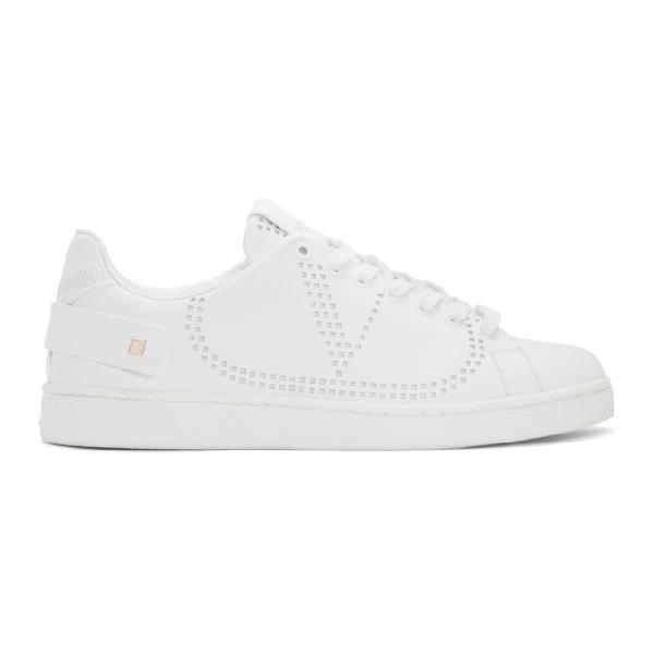 Valentino Garavani Garavani Backnet Perforated Leather Sneakers In 0bo White