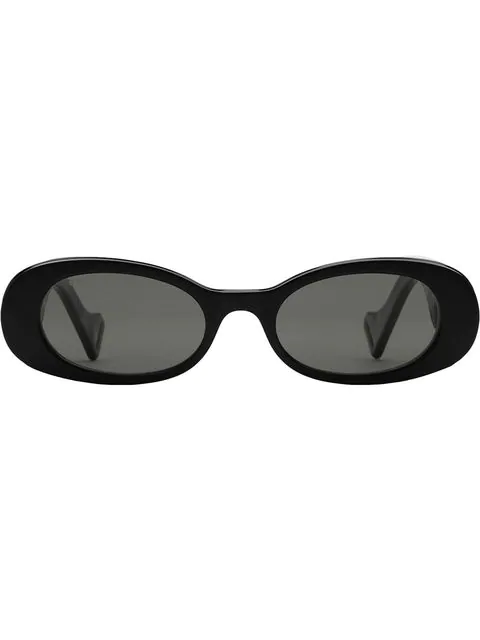 Gucci 52Mm Oval Sunglasses - Black Acetate