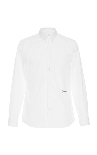 Givenchy Slim-Fit Logo-Embroidered Cotton-Blend Poplin Shirt In White
