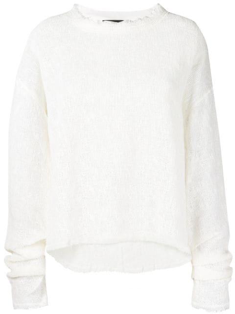Andrea Ya'Aqov Distressed Frayed Sweater In Neutrals