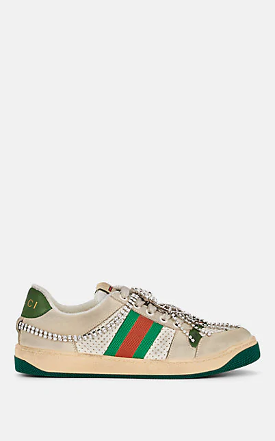 Gucci Screener Embellished Canvas-Trimmed Distressed Leather Sneakers In 9582 Ivory