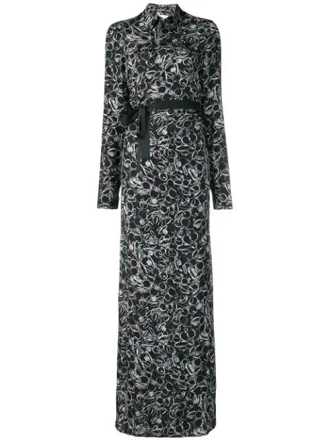 A.F.Vandevorst Ring Print Maxi Shirt Dress In 19111 Black