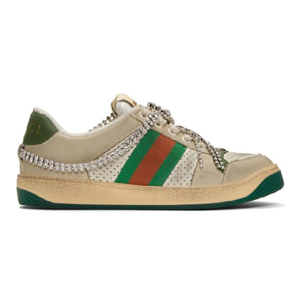 Gucci 'screener' Web Stripe Distressed Leather Sneakers In Beige