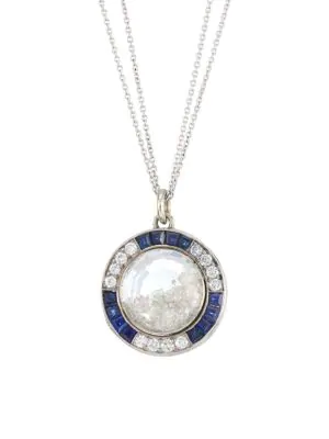 Renee Lewis 18k White Gold, Platinum, Diamond & Sapphire Shake Necklace