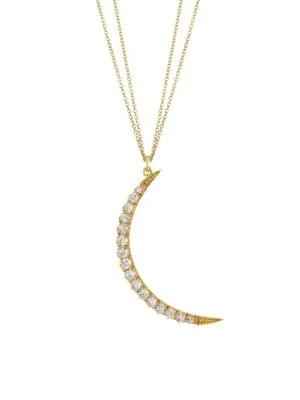 Renee Lewis 18k Yellow Gold & Diamond Crescent Pendant Necklace