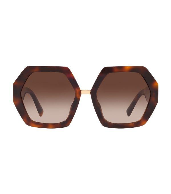 Valentino Rockstud Heptagon Sunglasses In Brown