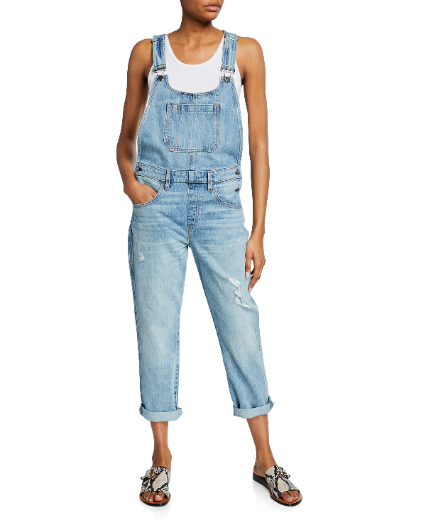 Hudson Jessi Straight-Leg Boyfriend Distressed Overalls In Renewal