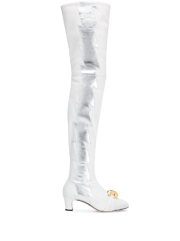 33ef2079e8 Gucci Leather Over-The-Knee Boot With Half Moon Gg In White | ModeSens