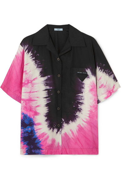 Prada Tie-dye Collared Cotton-poplin Shirt In Black