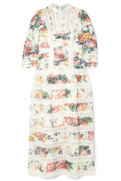 Zimmermann Allia Pintucked Lace-Paneled Floral-Print Linen Dress In White