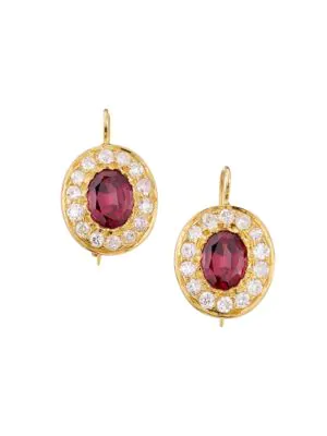 Renee Lewis 18k Yellow Gold, Garnet & Diamond Drop Earrings