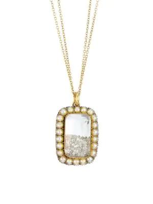 Renee Lewis 18k Yellow Gold, Diamond & Round Pearl Shake Necklace