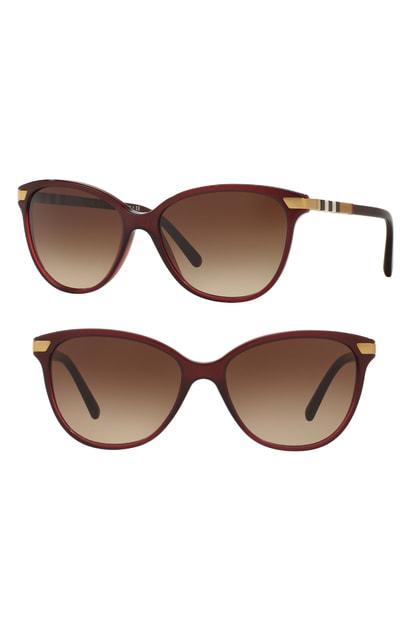 637b0e074433 Burberry 57Mm Cat Eye Sunglasses - Translucent Oxblood In Tortoise Brown  Gradient