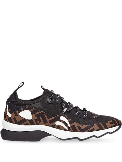 Fendi Freedom Logo-print AppliquÉd Neoprene And Mesh Sneakers In Black