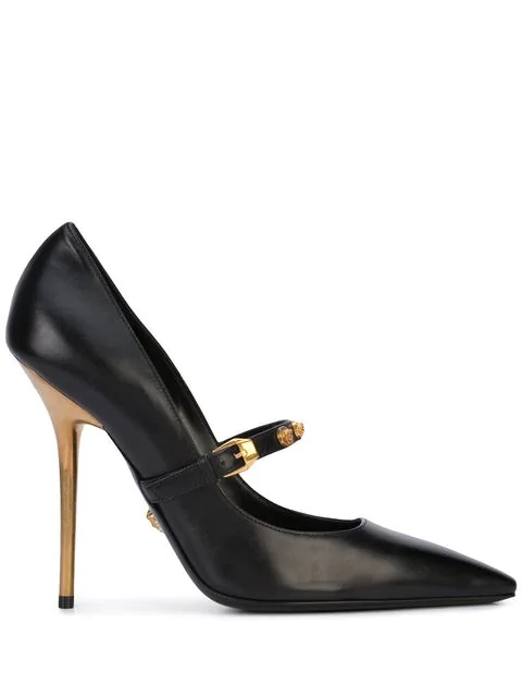 Versace Mary Jane Leather Stiletto Pumps In Black