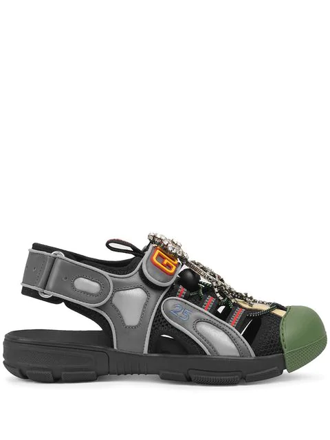Gucci Crystal Embellished Cut Out Panel Leather Sandals In Black