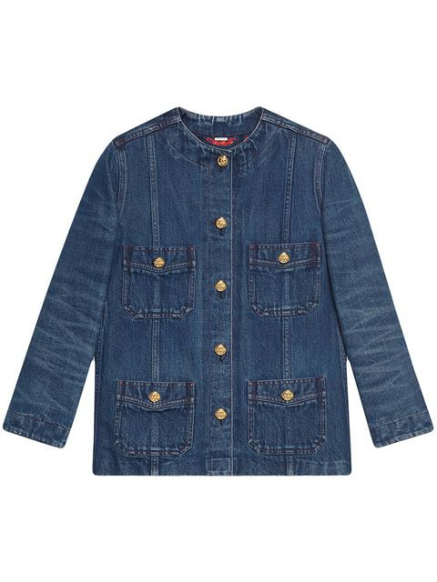Gucci Round-neck Buttoned-down Denim Jacket In Blue