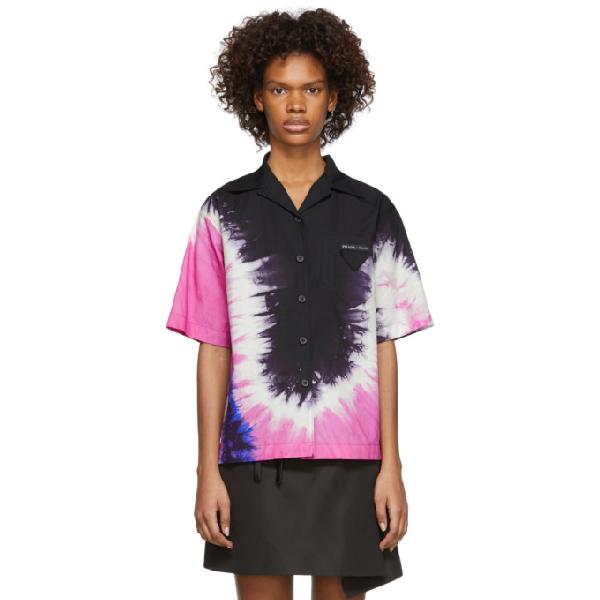 Prada Tie-Dye Collared Cotton-Poplin Shirt In F0T79 Pink