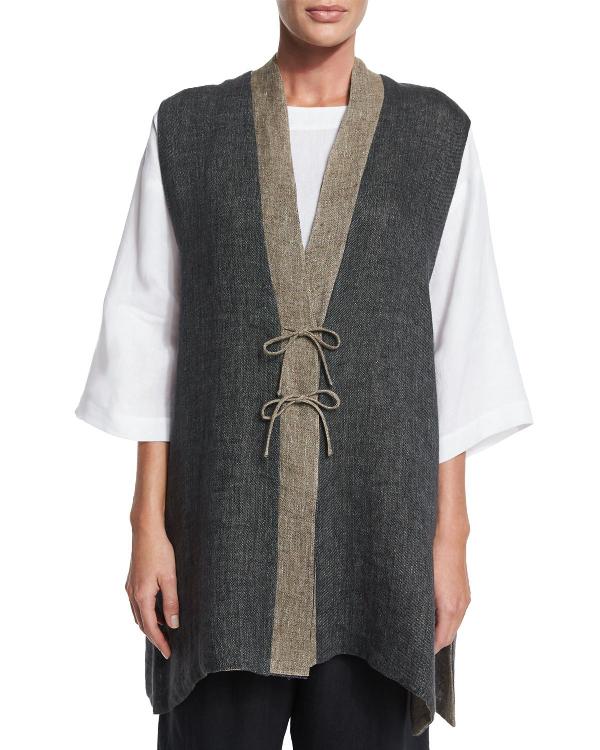 Eskandar Gauzy Linen Shanghai Waistcoat, Elephant/Mix In Elephantmi