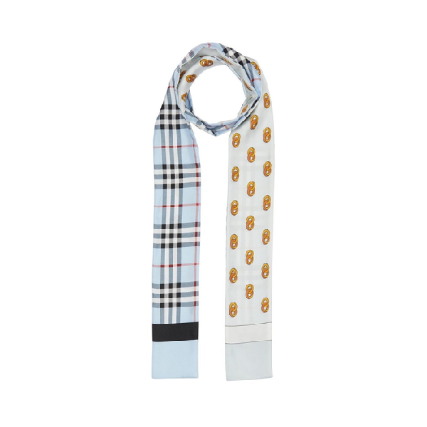 Burberry Vintage Check And Link Print Silk Skinny Scarf In Pale Blue