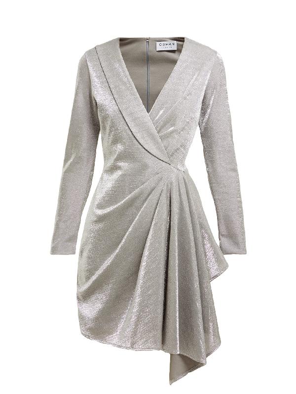 Osman Hanoi Cotton-blend Asymmetric Mini Dress In Silver