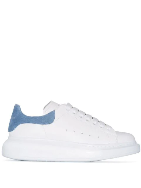 Alexander Mcqueen Suede-trimmed Leather Exaggerated-sole Sneakers In White ,blue