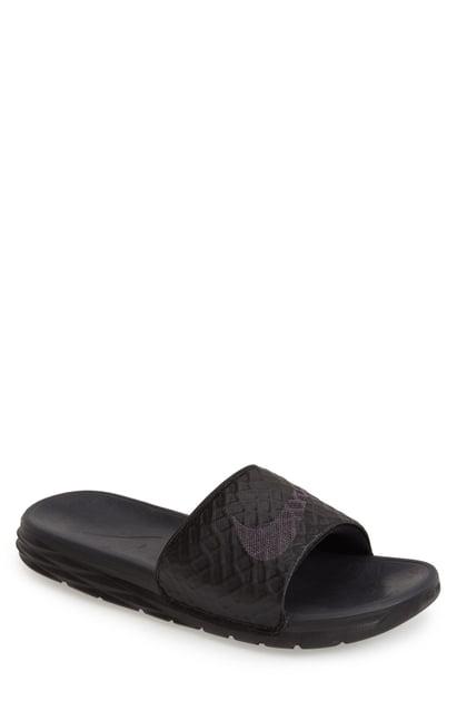 ddb5a4ff5454 Nike Men s Benassi Solarsoft Slide 2 Sandals From Finish Line In Black Black  Black