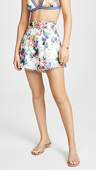 Zimmermann Allia High-Rise Floral-Print Linen Shorts In White