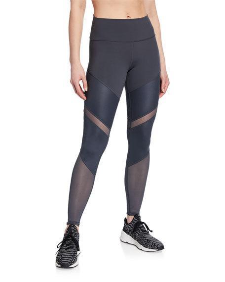 Alo Yoga Sheila High-waist Mesh Leggings In Anthracite