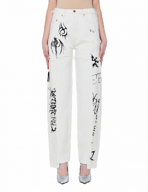 Vetements White Printed Jeans