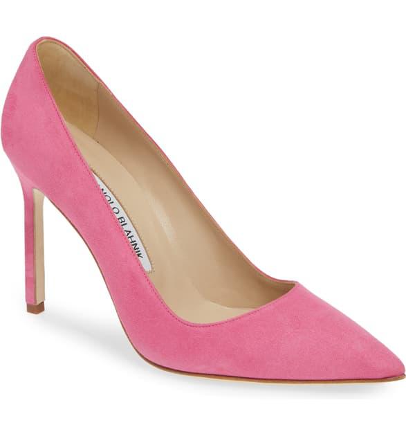 Manolo Blahnik 'Bb' Pointy Toe Pump In Bright Pink Suede