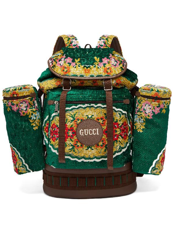 Gucci Floral-jacquard Velvet Drawstring Backpack In 3091 Green