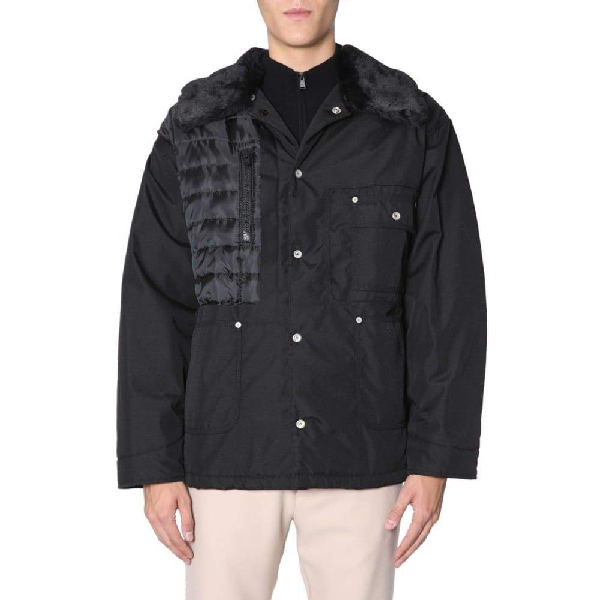 Maison Margiela Faux Shearling And Pu-trimmed Quilted Canvas Jacket In Black
