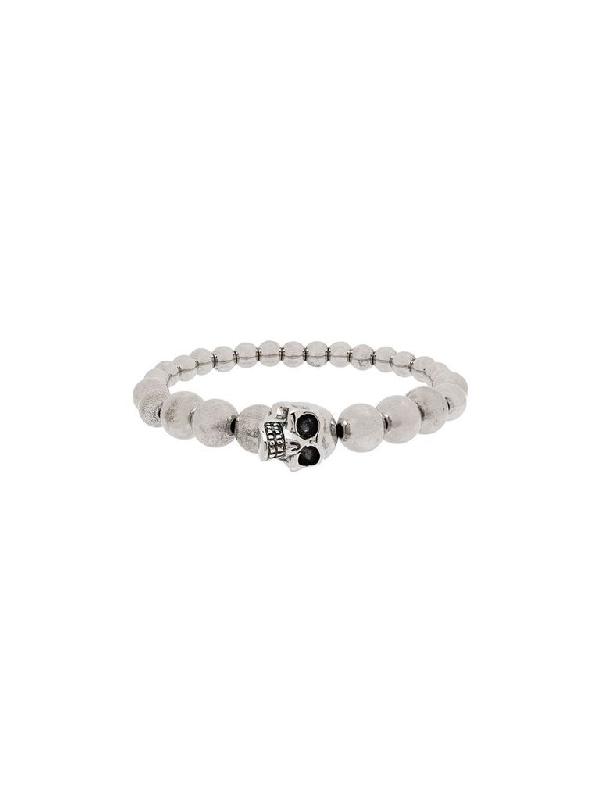 Alexander Mcqueen Skull Brass Elasticated Bracelet In Silver