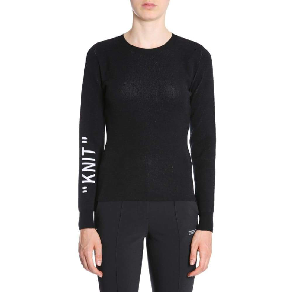 Off-white Knit Intarsia Viscose Blend Sweater In 1001 Black White