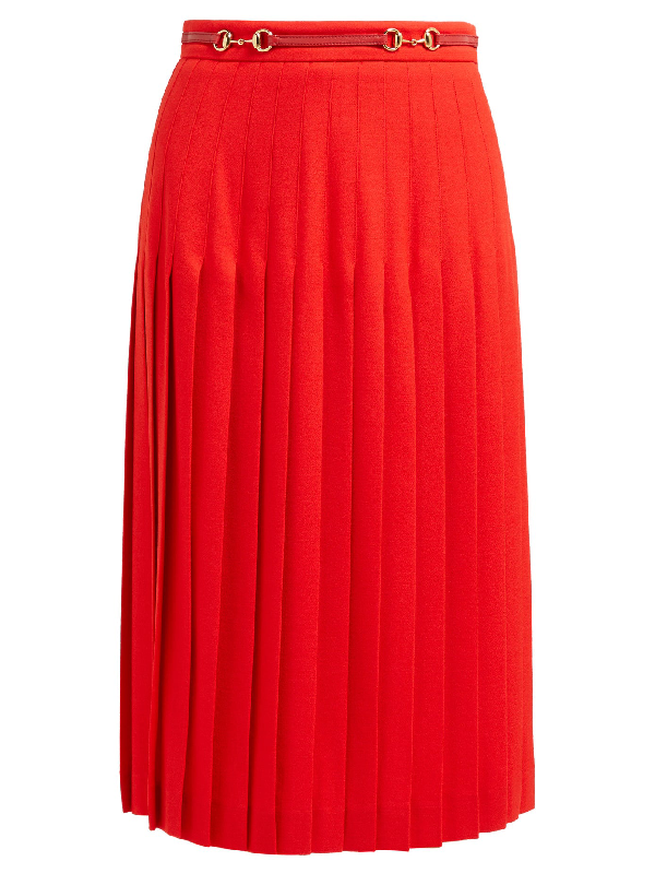 Gucci High Waisted Pleat Wool Midi Skirt With Belt In Red