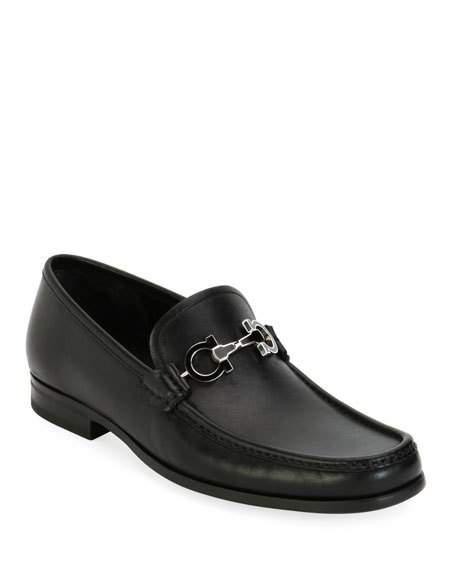 Salvatore Ferragamo Men's Leather Loafer With Reversible Gancini Ornament In Black