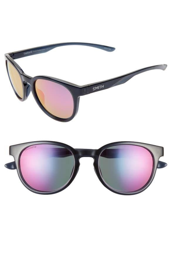 Smith Eastbank 52mm Chromapop(tm) Mirrored Sunglasses In Crystal Mediterranean/ Purple