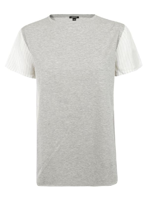 Aspesi Paneled T-shirt In Grey/white