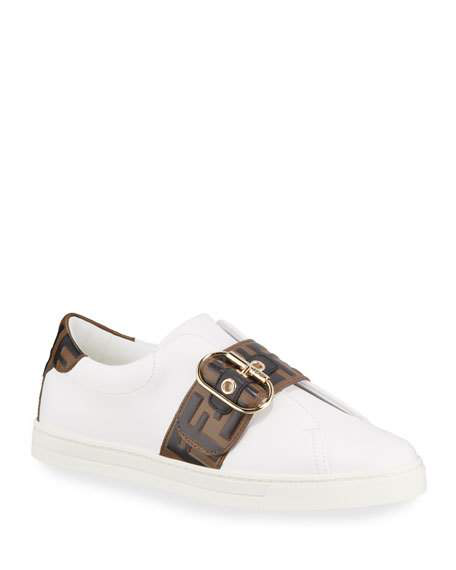 Fendi 20mm Ff Logo Buckled Leather Sneakers In White